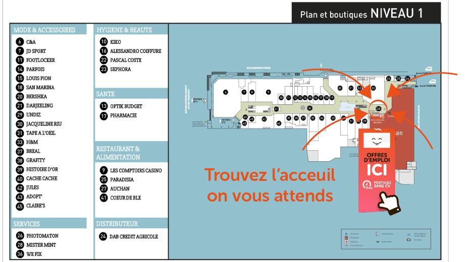 plan du centre avec emplacement de la borne